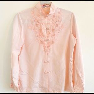 VINTAGE '50s Asian Pale Pink Blouse, sz6/36